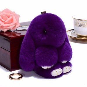 Purple Fluffy Bunny Keyring